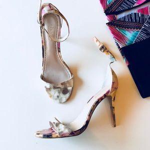 Charles David floral strap heels sz 6.5